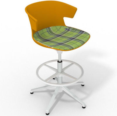 Elegante Height Adjustable Drafting Stool - With Large Feature Seat Pad Ochre Green White