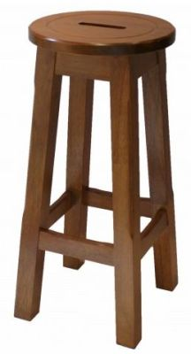Modeno Natural Button Top Bar Stool - Oak