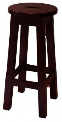 Modeno Natural Button Top Bar Stool - Walnut