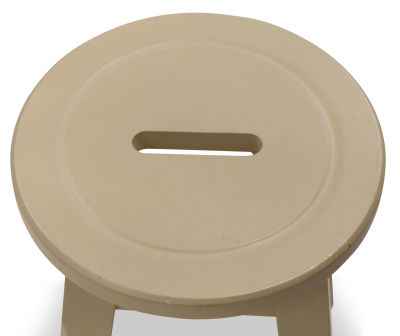 Modeno Paint Button Top Low Stool Cream Seat Detail