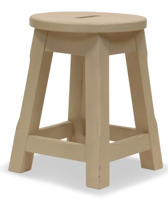 Modeno Paint Button Top Low Stool Cream Side View