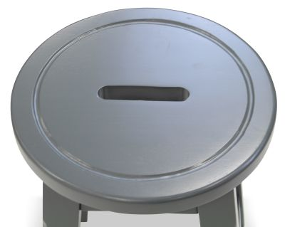 Modeno Paint Button Top Low Stool Grey Seat Detail