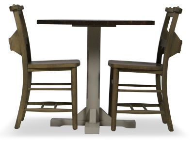 Church Chair And Table Set Side View Weathered Oak