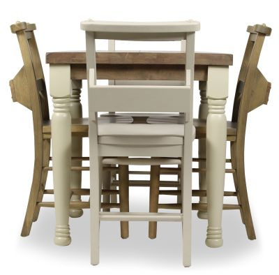 Church Dining Chair And Table Set 5 Side View Cream Weathered Oak Chairs & Cream Legs