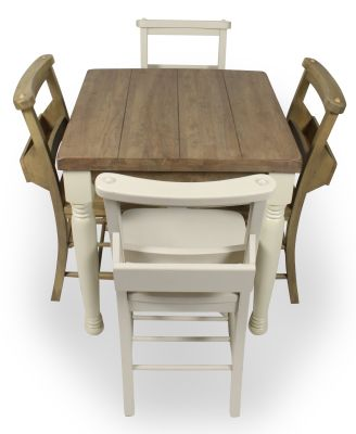 Church Dining Chair And Table Set 5 Top View Cream Chairs & Legs