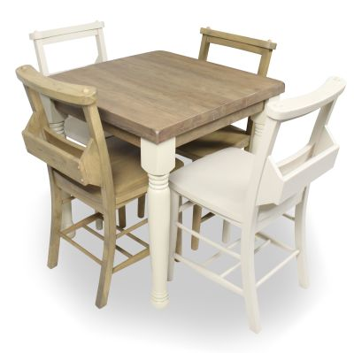 Church Dining Chair And Table Set 5 Top View Cream Weathered Oak Chairs & Cream Legs