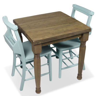 Church Dining Chair And Table Set 8 Blue