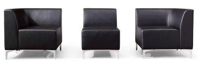 Pluto Black Leather Sofas