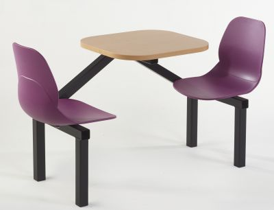 Mylo Two Seater With Plum Colured Seats And A Beech Table Top