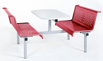 Blazer Bench Metal Canteen Fixed Chairs In Red