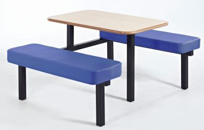 Moza Upholstered Bench And Tables With Blue Seats