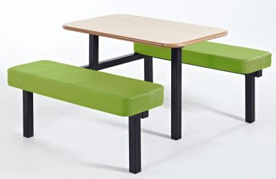 MOza Upholstered Bech And Table With Lime Green Seats