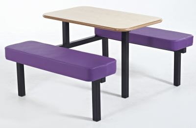 MOza Upholstered Bech And Table With Purple Seats