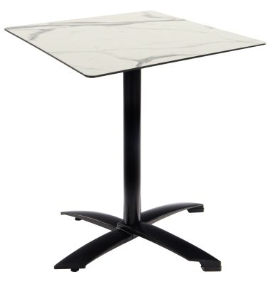 Kriss Kross Black Table Base With A Square White Marble HPL Top
