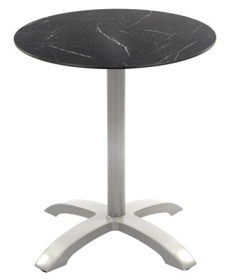 Toto Outdoor Hpl Table With A Black Marble Top And Grey Base