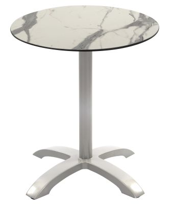Toto Outdoor Table With A Grey Aluminium Base And A Round White Marble Effct Compact Laminate Top