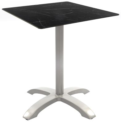 Toto Outdoor Table With A Grey Aluminium Table Base And Black Marble Effect Square Hpl Top
