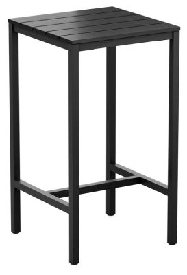 Mode Outdoor Square Bar Height Table With A Black Imitation Wood Top