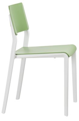 Marq Chair With A Green Seat And Back And Light Grey Frame Side View