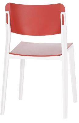 Marq Chair With A Red Seat And Black And White Frame Rear Angle View