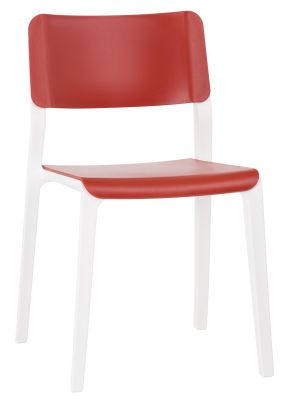 Marq Chair With A Red Sedat And Back And Traffic White Frame Front Angle View