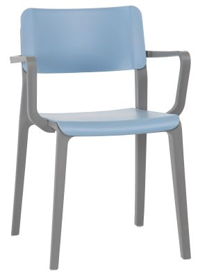 Marq Indoor And Outdoor Poly Armchair With A Sky Blue Seat And Back Front Angle View