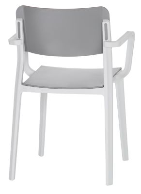 Marq Poly Armchair With A Grey Seat And Back And Light Grey Frame Rear Angle View