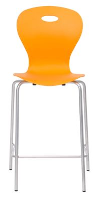 Solar Mid Back High Stool In Orange Front View