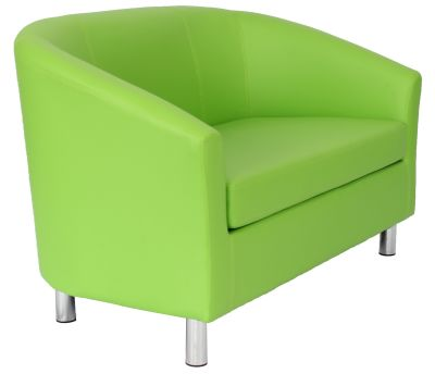 Tritium Leather Sofa In Lime Green With Chrome Feet Angle View