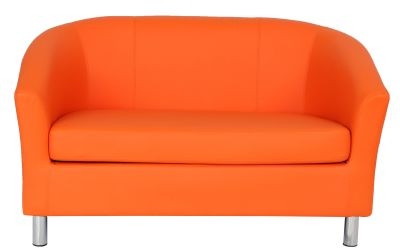 Tritium Faux Learher Sofa In Orange With Chrome Feet Front View