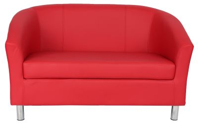 Tritium Red Leather Sofa With Chrome Feet Front View