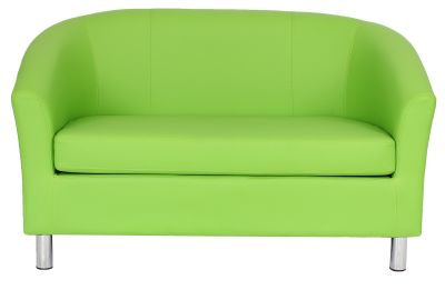 Tritium Two Seater Leather Sofa In Green With Chrome Feet Front View