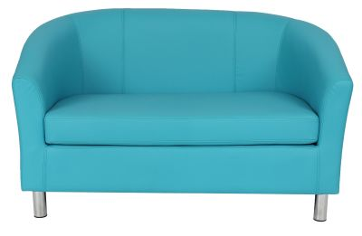 Tritium Leather Sofas In Light Blue With Chrome Feet Front View