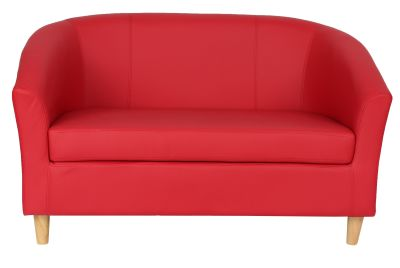 Tritioum Two Seater Red Leather Sofa With Wooden Feet Front View