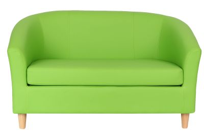 Tritium Sofa In Lime Grean Leather With Wooden Feet Front View