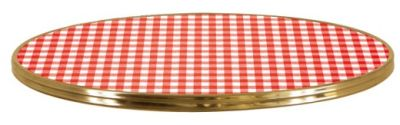 Vichy Rouge Round Table Top With Bistro Ring
