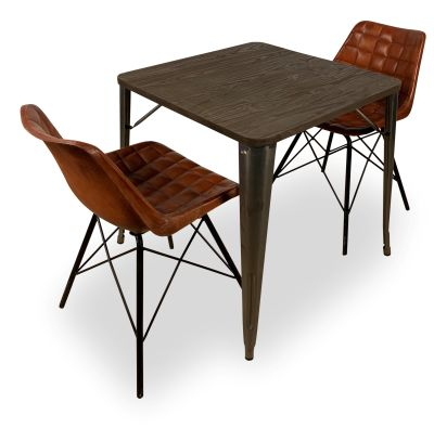 Double Leather Chair And Bistro Table Bundle