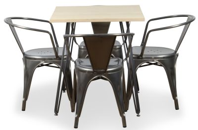 Four Metal Armchairs And Pin Table Bundle