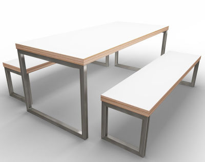 Rawling Bench Dining Set White Ply Raw