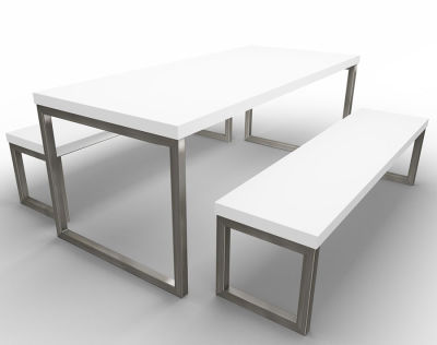 Rawling Bench Dining Set White White Raw