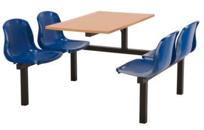 Totnes Fast Food Unit Single Sided 4 Seater Blue Beech