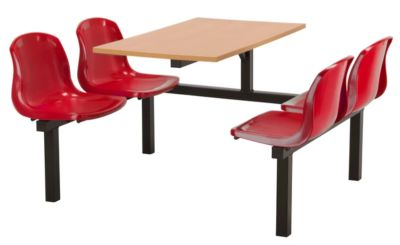 Totnes Fast Food Unit Single Sided 4 Seater Red Beech