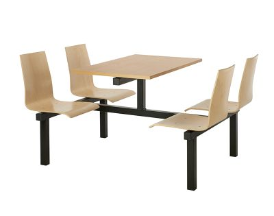 4 Person Double Access Wooden Fast Food Unit With Beech Top And Black Frame