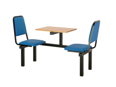 2 Person Single Access Fast Food Seating With Blue Vinyl Seating And Beech Table Top