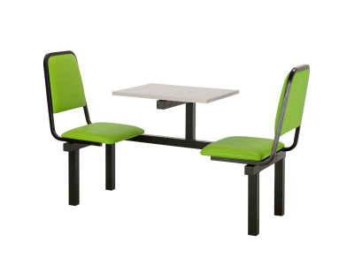 2 Person Single Access Fast Food Seating With Green Vinyl Seating And Grey Table Top