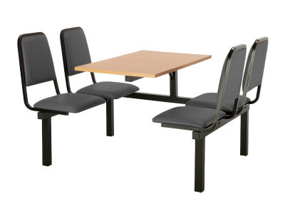 4 Person Single Access Fast Food Seating With Grey Vinyl Seating And Beech Table Top