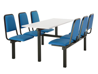 6 Person Double Access Fast Food Seating With Blue Vinyl Seating And White Table Top