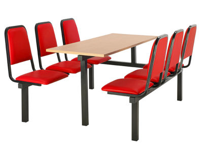 6 Person Single Access Fast Food Seating With Red Vinyl Seating And Beech Table Top