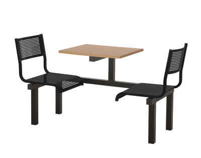 2 Person Single Access Metal Fast Food Seating Unit With Black Seats And Beech Table Top