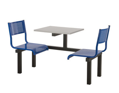 2 Person Single Access Metal Fast Food Seating Unit With Blue Seats And Silver Table Top